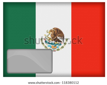 The Mexican flag painted on  postal envelope