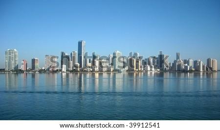 The Miami Skyline from the Rickenbacker Causeway - stock photo