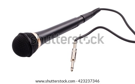 The microphone for a karaoke on a white background - stock photo