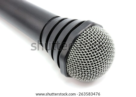 The microphone is at the corner of the frame - stock photo