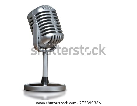 The microphone with isolated background - stock photo