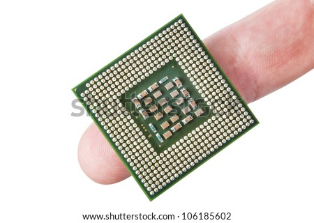 The microprocessor on the finger. On a white background.