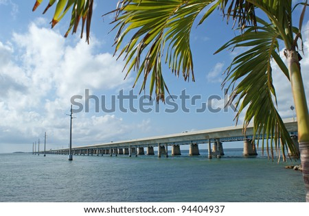 The 7 mile bridge on the way to Key West in the sunshine state Florida - stock photo
