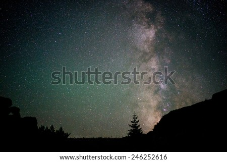 The Milky Way and beautiful night sky - stock photo