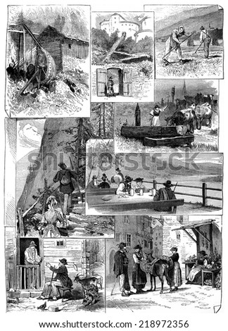 The mill, fort entrance, reapers, trough, stone stairs, brewery,  solitaire and the market,vintage engraved illustration. Journal des Voyage, Travel Journal, (1880-81). - stock photo