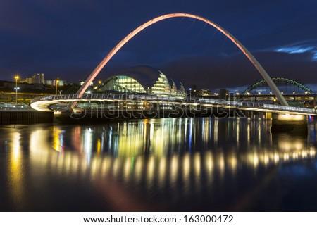 The Millennium Bridge on the River Tyne - stock photo