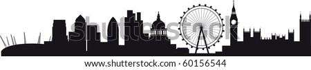 the millennium dome, canary wharf, the wheel, the city and westminster and big ben - stock photo