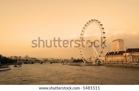 The millennium wheel in London sepia - stock photo