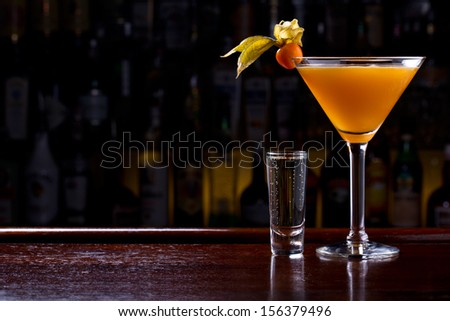the millionaire cocktail with champagne shot - stock photo