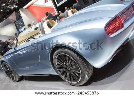 The Mini Superleggera concept car at The North American International Auto Show January 13, 2015 in Detroit, Michigan. - stock photo