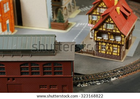 The miniature model town scenery represent the model toy train concept related idea.