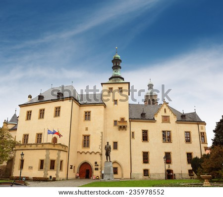 The mint in Kutna Hora over cloudy blue sky, Czech Republic - stock photo