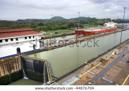 The Miraflores Locks in the Panama Canal - stock photo