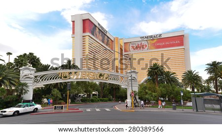 The Mirage hotel and Casino, one of the most famous hotel on Las Vegas Strips, May 21, 2015 - stock photo