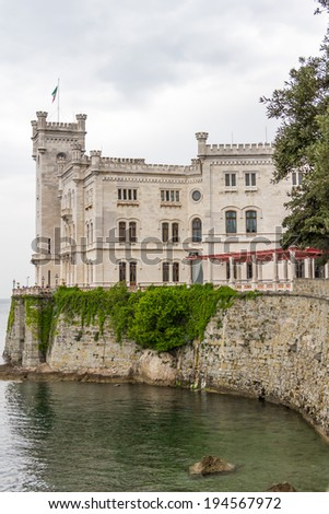 The Miramare Castle in Trieste, Italy, built in the  nineteenth-cenury - stock photo