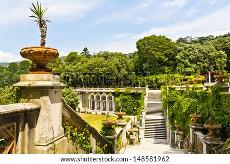 The Miramare garden in Trieste, situated above the Adriatic sea. Italy - stock photo