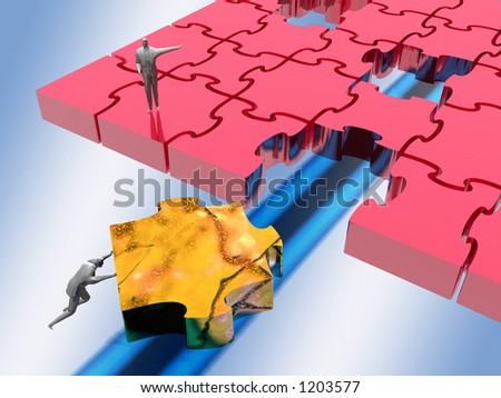 The missing link, a jigsaw puzzle, teamwork, solutions concept, illustration, background, clipping path. - stock photo