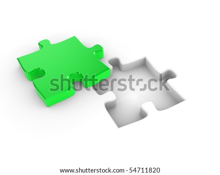 The missing piece of a puzzle, fitting into place - stock photo