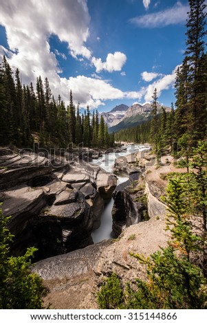 The Mistaya River becomes Mistaya Canyon, Banff National Park, Alberta. - stock photo