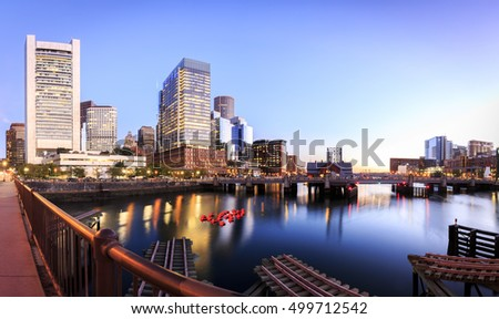 The mix of modern and historic architecture of Boston in Massachusetts, USA at sunrise.