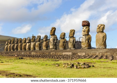 The 15 moai statues in the Ahu Tongariki site in Easter Island, Chile
