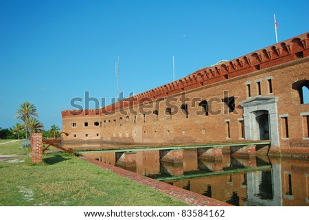 the moat entrance to Fort Jefferson in the Dry Tortugas National Park - stock photo