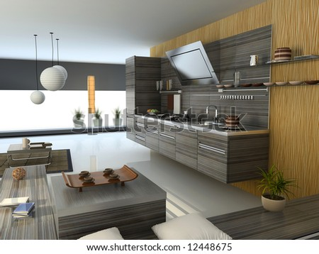 the modern apartment (kitchen detail view) 3D