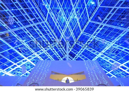 The modern ceiling of the city hall in blue lighting, edmonton, alberta, canada - stock photo