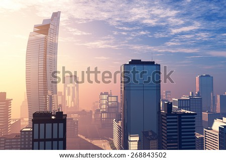 The modern city on the shore in the evening.  - stock photo