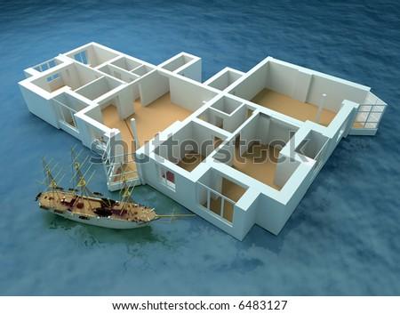 the modern flat sketch in sea (3d rendering) - stock photo