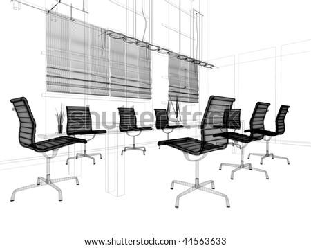 Sketch Modern Office Interior Stock Vector Shutterstock