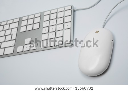 The modern keyboard and the mouse for a computer