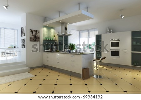 The modern kitchen interior design - stock photo