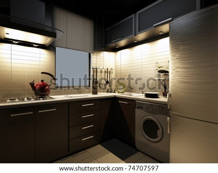The modern kitchen interior design - stock photo