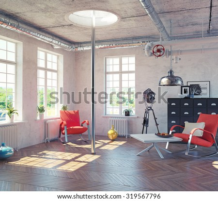 the modern loft interior with  fire pole  concept design (3d render) - stock photo