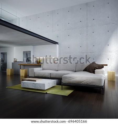 3d Rendering Interior Minimal Living Room Stock Illustration ...