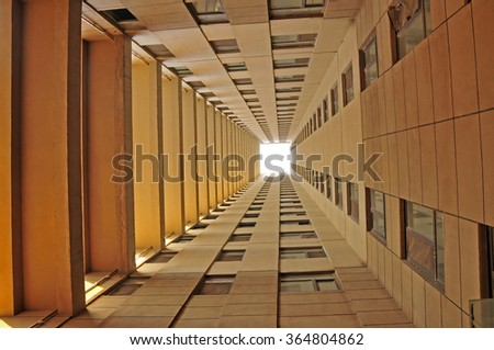 The modern office building from the Angle of the ground - stock photo