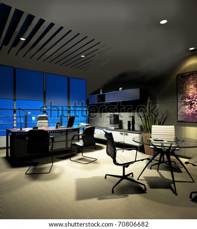 The modern office interior ( rendering) - stock photo