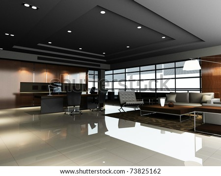 The modern office interior ( rendering)