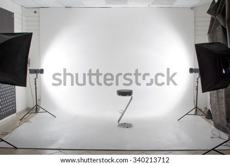The modern photo and video studio - stock photo