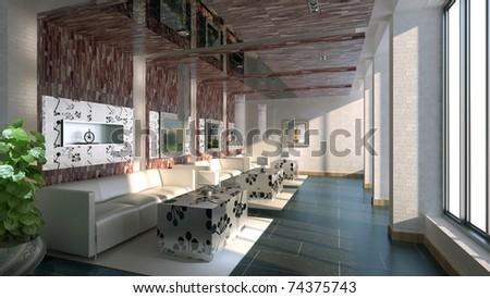 The modern room interior ( rendering) - stock photo