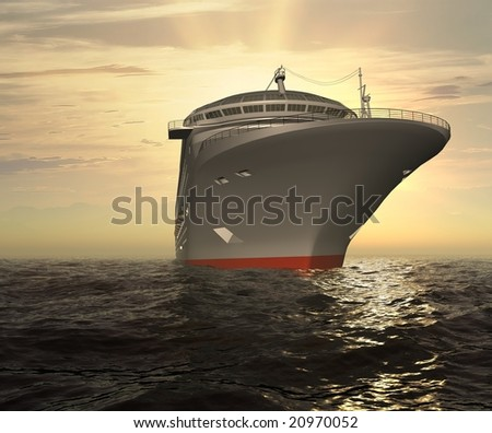 The modern ship in the sea - stock photo