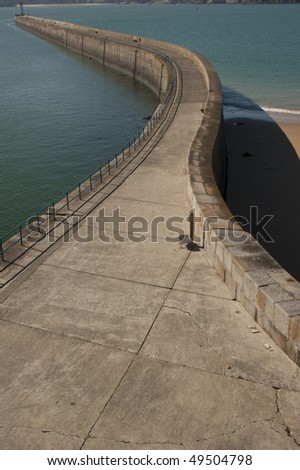 The Mole at St Malo, Brittany, France - stock photo