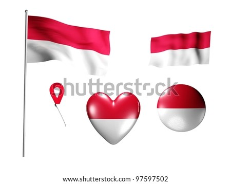 The Monaco flag - set of icons and flags on white background
