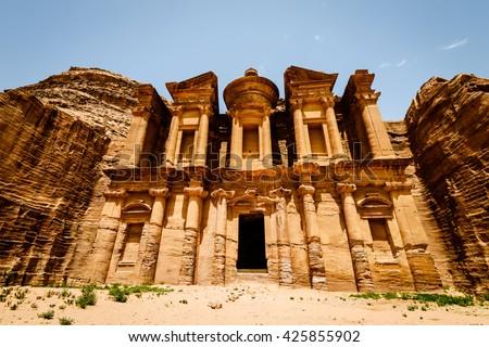 The Monastery Ad-Deir, ancient Nabataean city Petra, Jordan. - stock photo