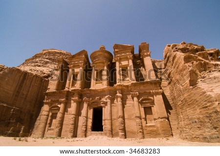 The Monastery at Petra, Jordan. A tomb carved from sandstone mountain cliffs and later used as a Christian monastery.