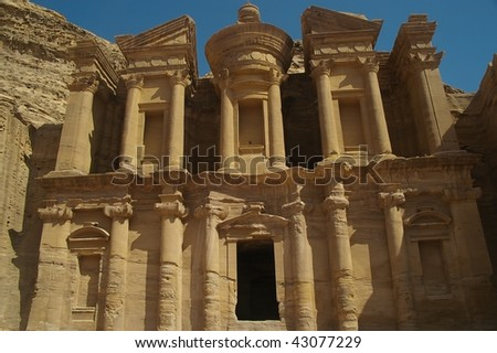 The monastery in landmark area of petra jordan