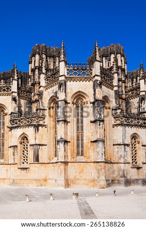 The Monastery of Batalha is a Dominican convent in the civil parish of Batalha, Portugal. Originally known as the Monastery of Saint Mary of the Victory. - stock photo