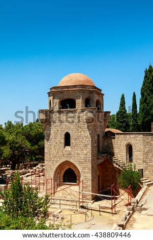 The Monastery of Filerimos was built in the 15th century by the Knights of Saint John on the island of Rhodes. - stock photo