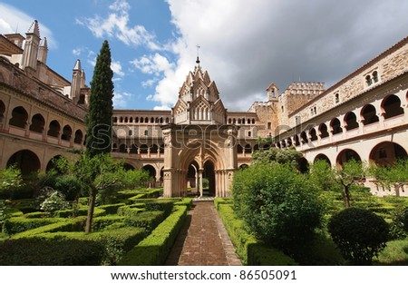 The monastery of Santa Maria de Guadalupe is situated in Guadalupe which is a municipality located in Las Villuercas comarca, province of Caceres, Extremadura, Spain - stock photo